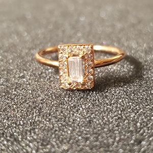 Delicate rose gold Sterling silver cz ring